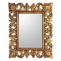 Wood wall mirror, 'Golden Lotus' - Antiqued Gold Finished Vintage Look Fair Trade Wall Mirror
