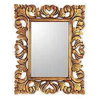Wood wall mirror, 'Nova' - Artisan Crafted Rectangular Wood Wall Mirror in Antique Gold