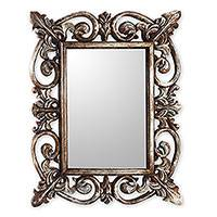 Wood wall mirror, 'Georgian' - Georgian Style Carved Wood Wall Mirror with Silver Finish