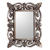 Wood wall mirror, 'Georgian' - Georgian Style Carved Wood Wall Mirror with Silver Finish