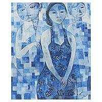'Woman in Blue' - Original Cubist Portrait of Woman by Balinese Artist