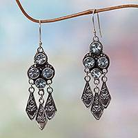 Blue topaz dangle earrings, 'Edwardian Grace' - Ornate Blue Topaz and Sterling Silver Chandelier Earrings