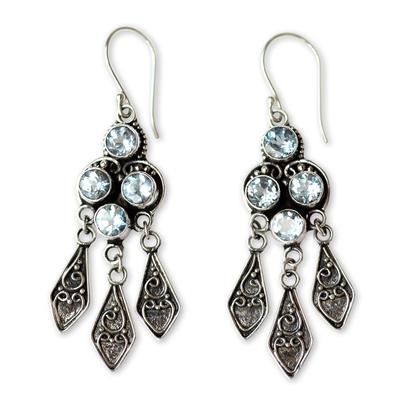 Blue topaz dangle earrings, 'Edwardian Grace' - Ornate Blue Topaz and Sterling Silver Chandelier Earrings