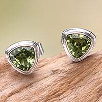 Peridot stud earrings, 'Green Trinity' - Artisan Designed Peridot Stud Earrings with Trillion Cut