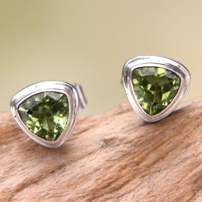 Peridot stud earrings, 'Green Trinity' - Artisan Designed Peridot Stud Earrings with Trillion Cut