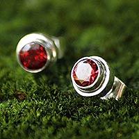 Garnet stud earrings, 'Red Simplicity' - Genuine Garnet and Sterling Silver Stud Earrings from Bali