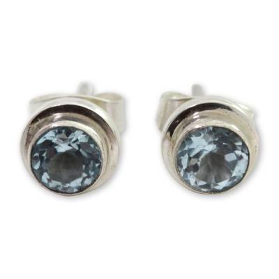 Blue topaz stud earrings, 'Blue Simplicity' - Classic Blue Topaz and Sterling Silver Round Stud Earrings