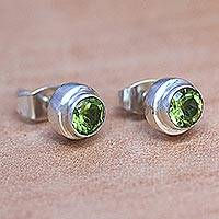 Peridot stud earrings, 'Green Simplicity' - Artisan Crafted Green Peridot Stud Earrings in 925 Silver