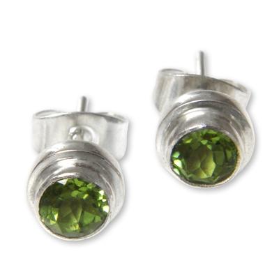 Peridot stud earrings, 'Green Simplicity' - Artisan Crafted Green Peridot Stud Earrings in 925 Silver
