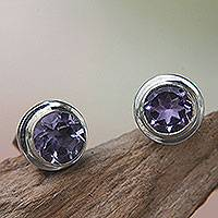 Amethyst stud earrings, 'Purple Simplicity' - Round Amethyst and Sterling Silver 925 Stud Earrings