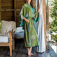Batik robe, 'Pancaroba' - Handmade Batik Women's Robe from Bali in Shades of Green