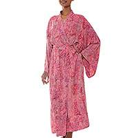 Batik robe, 'Romantic Rose'