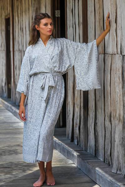 Rayon batik robe, 'Misty Arabesque' - Grey and White Screen Print Rayon Belted Kimono Style Robe