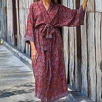 Rayon batik robe, 'Morning Aster' - Women's Grey and Burgundy Hand Stamped Batik Belted  Robe
