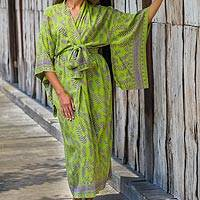 Rayon robe, 'Tropical Fern Forest'