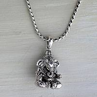 Sterling silver pendant necklace, 'Lord Ganesha' - Balinese Hand Crafted Sterling Silver Hindu Pendant Necklace