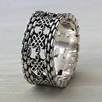 Sterling silver band ring, 'Luck Has It'
