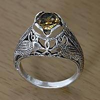 Citrine solitaire ring, 'Starling Romance'