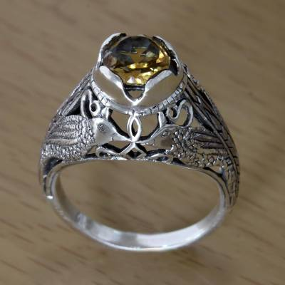 Citrine solitaire ring, 'Starling Romance' - Kissing Birds in Sterling Silver Citrine Solitaire Ring