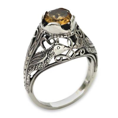Kissing Birds in Sterling Silver Citrine Solitaire Ring