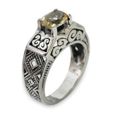Citrine solitaire ring, 'Noble Princess' - Citrine Solitaire in Sterling Silver Ring with Openwork