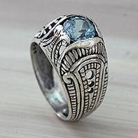 Blue topaz domed ring, 'Denpasar Temple' - Sterling Silver Domed Ring with Faceted Blue Topaz Gem