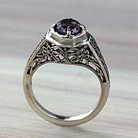 Amethyst solitaire ring, 'Magic Garden' - Ornate Amethyst Solitaire Ring with Silver Floral Cutouts