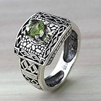 Peridot cocktail ring, 'Bali Temple'