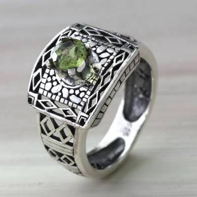 Peridot cocktail ring, 'Bali Temple' - Handcrafted Peridot Ring with Silver Cutout Motifs