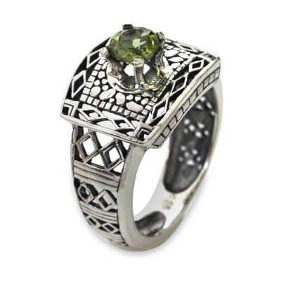 Handcrafted Peridot Ring with Silver Cutout Motifs