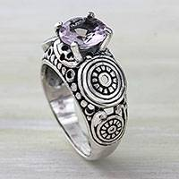 Amethyst solitaire ring, 'Lilac Moonlight' - Balinese Artisan Crafted Silver and Amethyst Solitaire Ring
