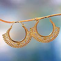 Gold vermeil hoop earrings, 'Jungle Paradise'