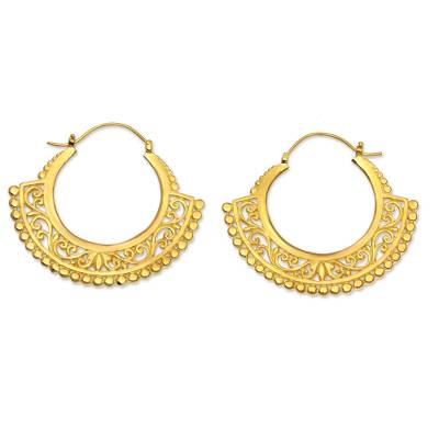 Gold vermeil hoop earrings, 'Jungle Paradise' - Lacy Handcrafted Sterling Silver Earrings Bathed in 22k Gold