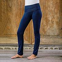 Cotton full length yoga pants, 'Kintamani in Blue' - Artisan Crafted Long Cotton-Lycra Yoga Pants in Dark Blue