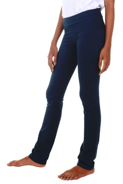 Cotton full length yoga pants, 'Kintamani in Blue' - Artisan Crafted Long Cotton-Lycra Yoga Pants in Dark Blue