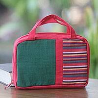 Cotton cosmetics bag, 'Red Jogja' - Hand Woven Cotton Cosmetics Bag in Red and Green