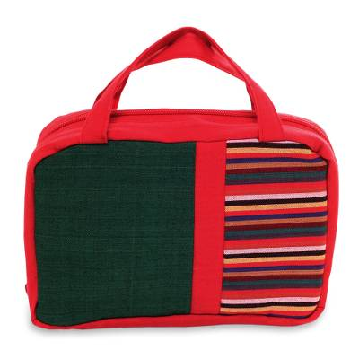 Hand Woven Cotton Cosmetics Bag in Red and Green