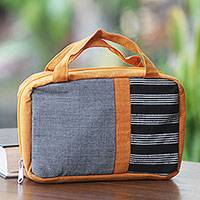 Cotton cosmetics bag, 'Orange Jogja' - Artisan Crafted Orange Cosmetics Bag with Black and White
