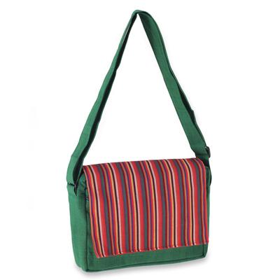 Novica Cotton messenger bag, Prambanan Green
