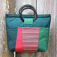 Cotton and mahogany handbag, 'Keraton Green' - Multi Pocket Green Cotton Handbag with Mahogany Handles