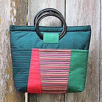 Cotton and mahogany handbag,