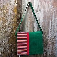 Cotton messenger bag, 'Prambanan Green' - Handwoven Green Red Lined Cotton Messenger Shoulder Bag
