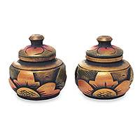 Decorative wood boxes, 'Guwang Treasure' (pair) - Small Handcrafted Decorative Round Wood Boxes (Pair)