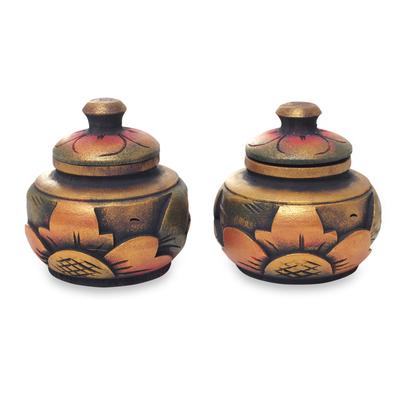 Decorative wood boxes, 'Guwang Treasure' (pair) - Small Handcrafted Decorative Round Wood Boxes (Pair)