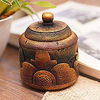 Decorative wood box, 'Garden Treasure' - Floral Box Hand Carved in Bali from Mahogany Wood