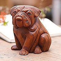 Wood sculpture, 'Curious Bulldog'