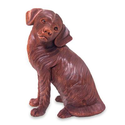 Long Haired Beagle Dog Wood Sculpture Carved by Hand