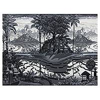 'The Silence' - Signed Mixed Media Black and White Bali Landscape Painting