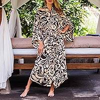Rayon robe, 'Sunset Shade' - Women's Cornsilk and Black Rayon Robe with Self Belt