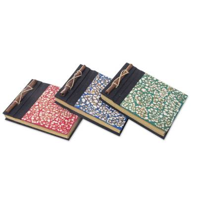 Natural fiber journals, 'Beratan Mosaic I' (set of 3) - Assorted Color Balinese Natural Fiber Journals (Set of 3)